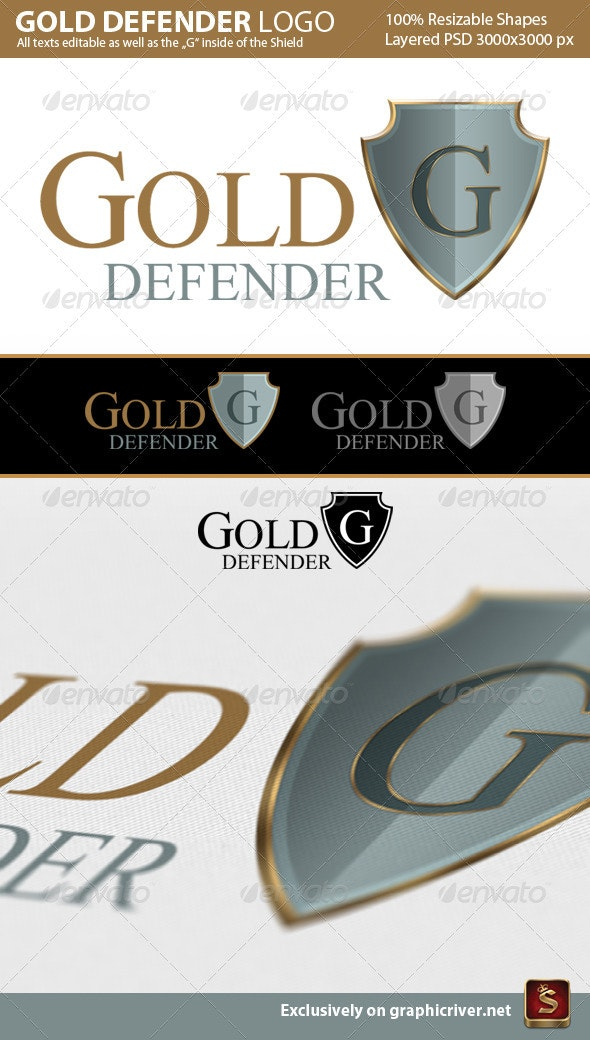 Gold Defender Logo Template - Crests Logo Templates