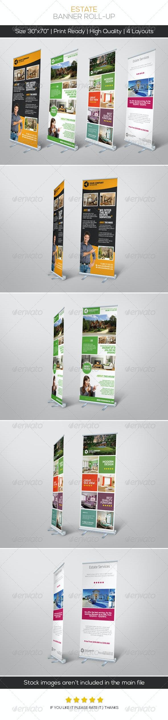 Premium Estate Banner Roll-up - Signage Print Templates