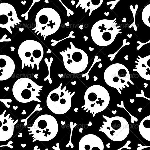 Skulls Seamless Pattern - Patterns Decorative