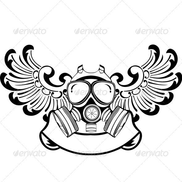 One Color Wings Gas Mask Sign