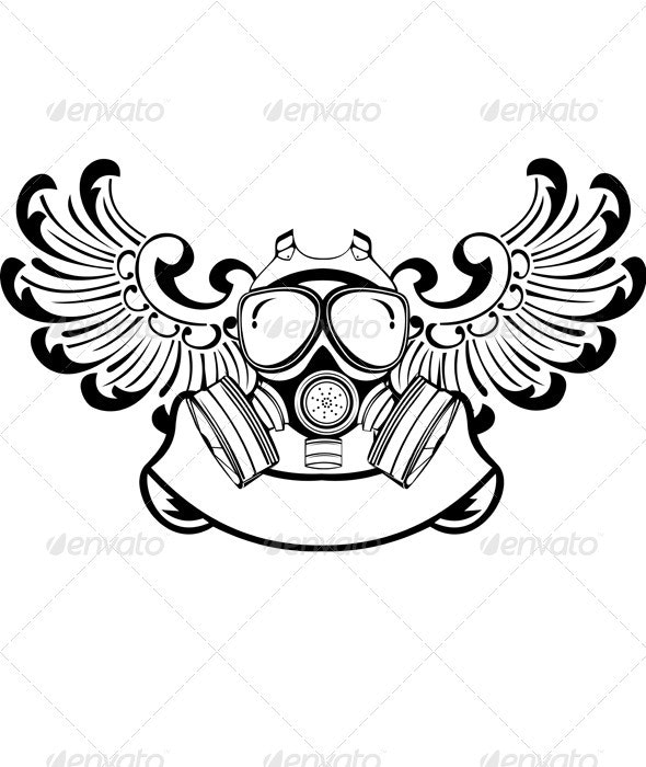 One Color Wings Gas Mask Sign - Miscellaneous Vectors