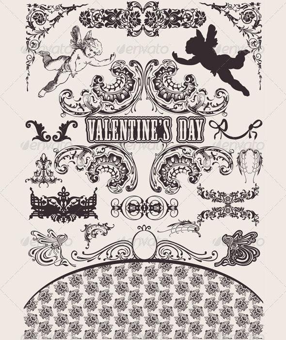 Vector set. Valentine's Design Elements - Retro Technology