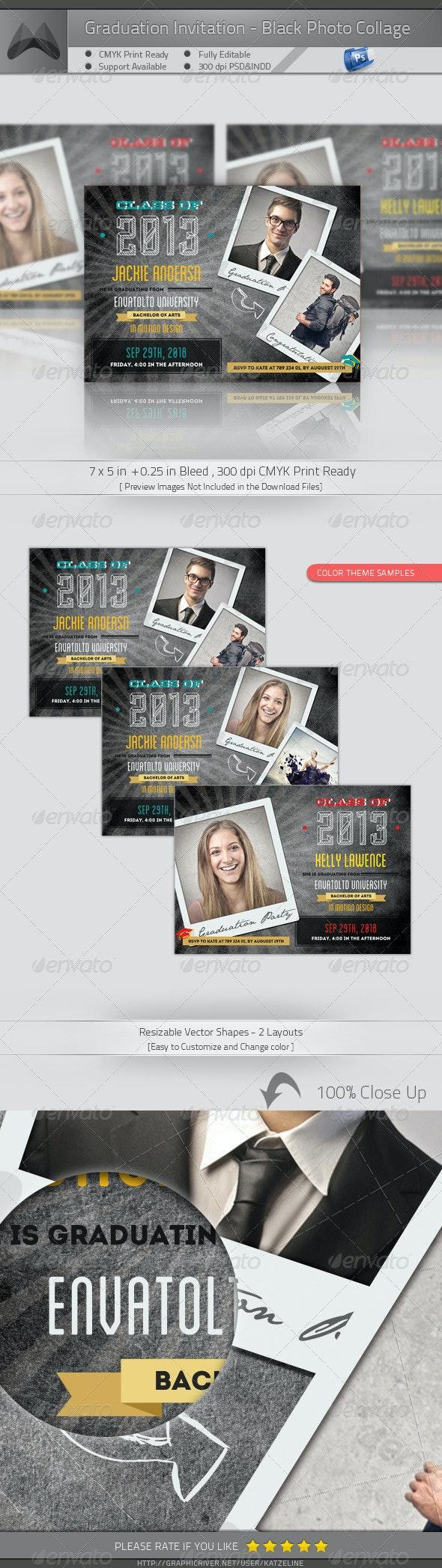 Graduation Announcement - Blackboard Photo Collage - Invitations Cards & Invites