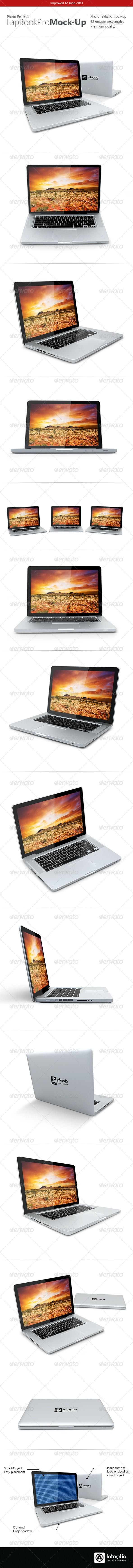 Photo-realistic Lap Book Pro Mock-Up - Laptop Displays