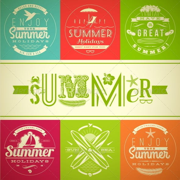 Summer Vacation and Holidays Lettering Emblems