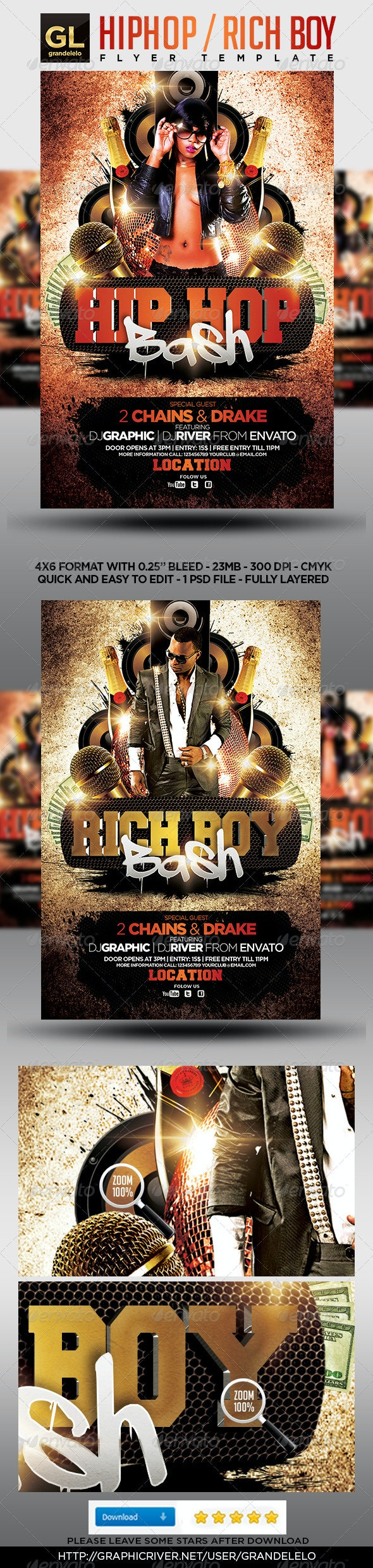 HipHop Flyer Template - Clubs & Parties Events