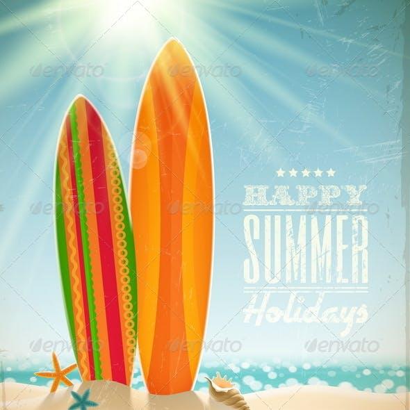 Vintage Surfboards on a Sunny Beach