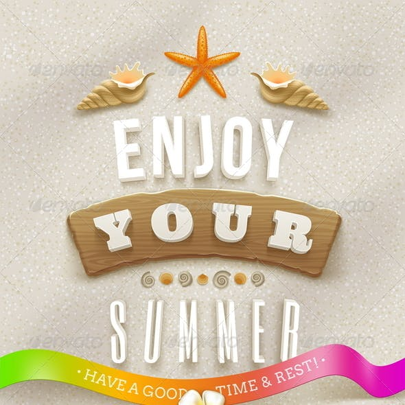 Summer Lettering with Tropical Nature Elements