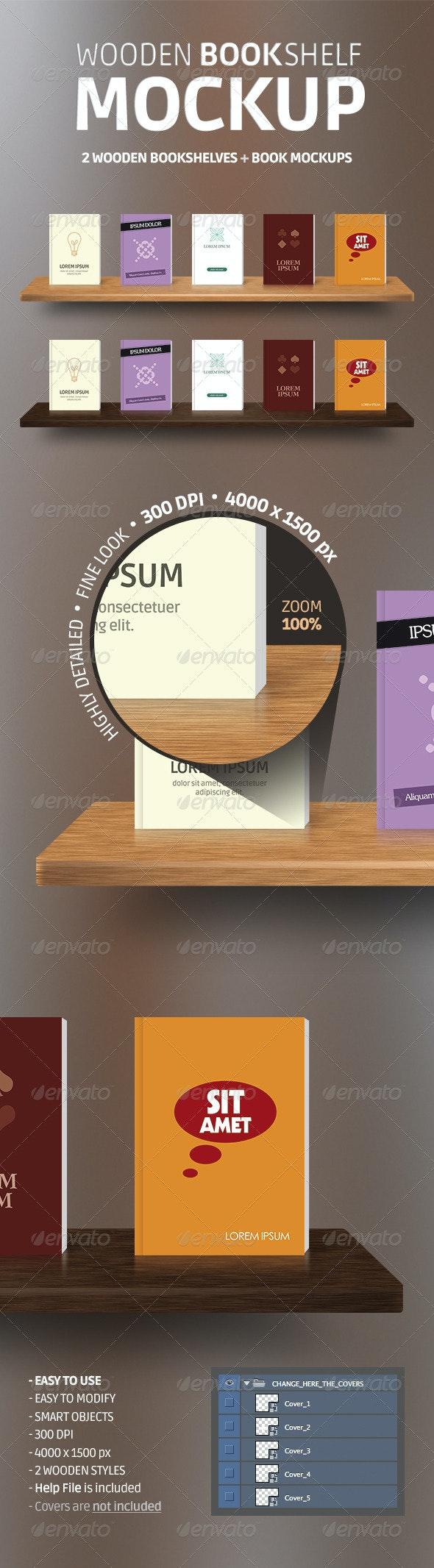 Wooden Bookshelves + Book Mockup PSD - Product Mock-Ups Graphics