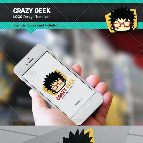 Crazy Geek Logo Tamplate