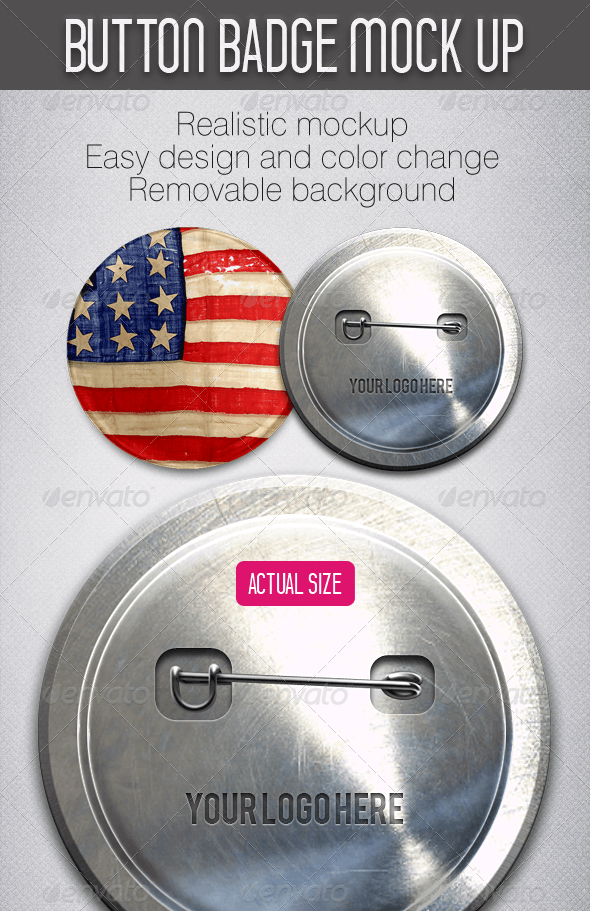 Button Badge Mockup - Miscellaneous Product Mock-Ups