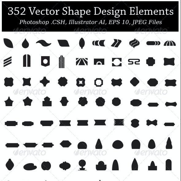 352 Vector Shapes Design Elements