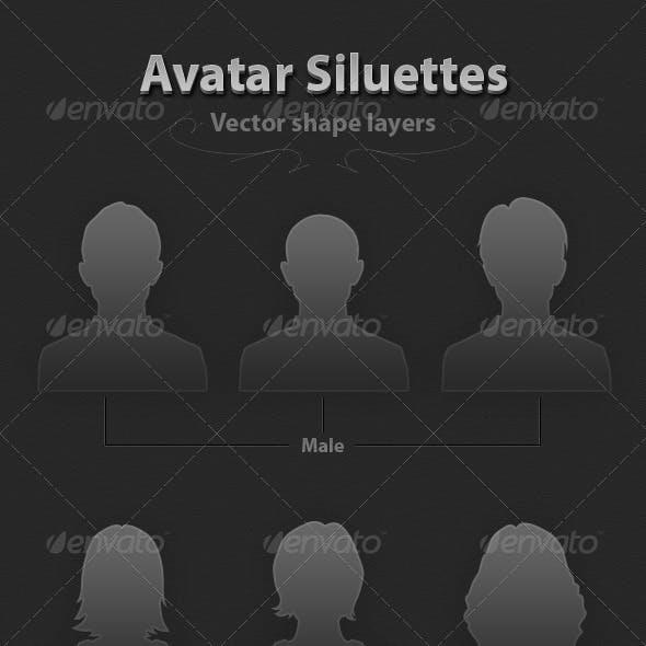 6 Avatar Siluettes Vector
