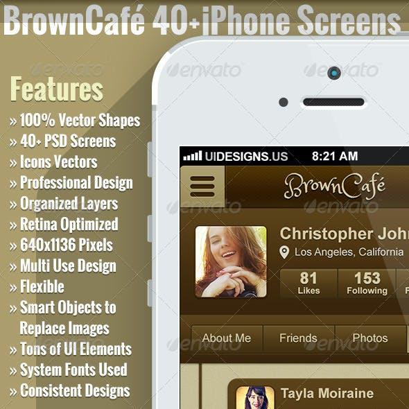Brown Cafe UI Kit Retina HD 40+ Screens Phone