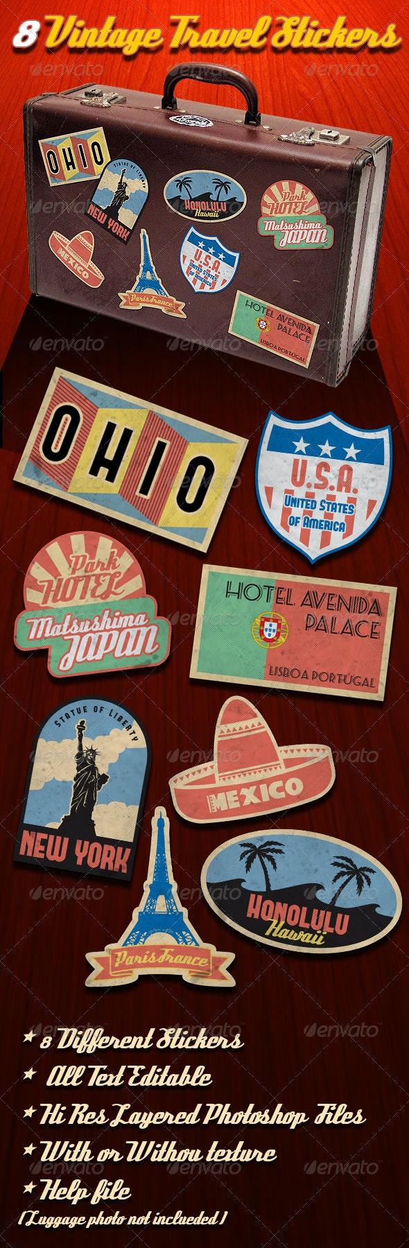 Vintage Travel Stickers - Badges & Stickers Web Elements