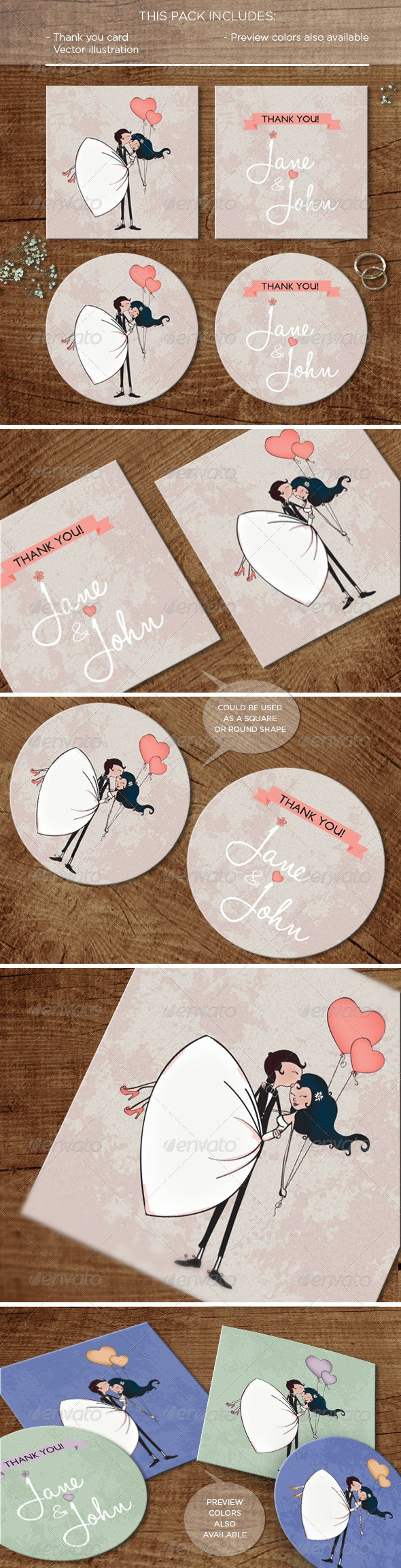 In the Air: Thank you Card - Weddings Cards & Invites