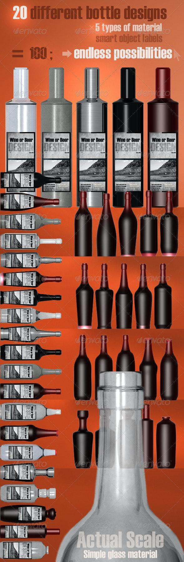 20 Bottle Designs Bundle - Food and Drink Packaging