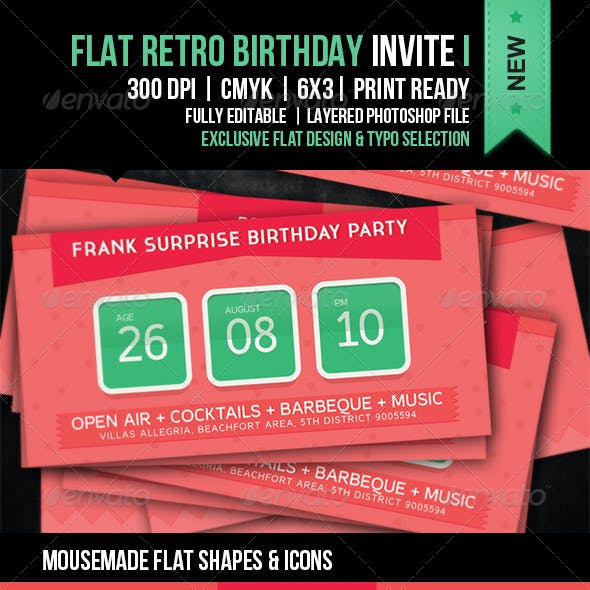 Flat Retro Birthday Party Invite I