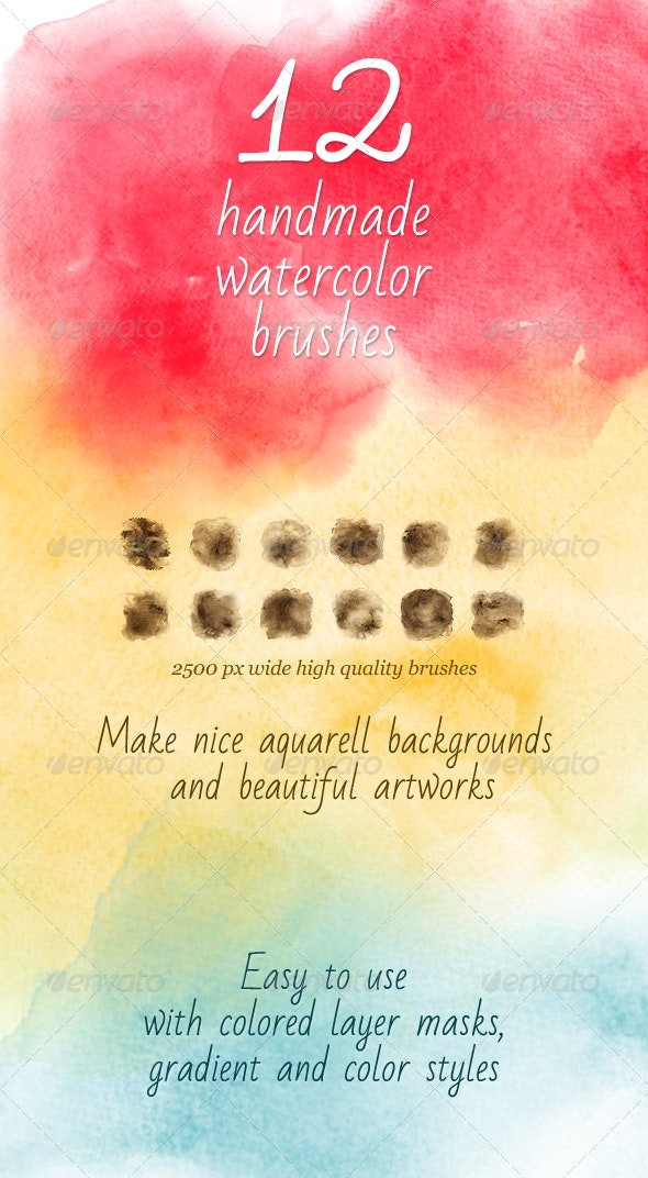 12 Watercolor Handmade Brushes  - Artistic Brushes