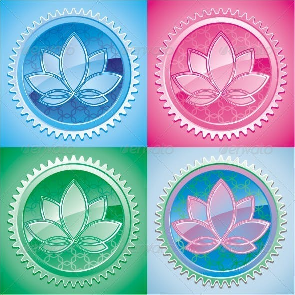 Lotus. Set Of Colorful Vector Graphics.