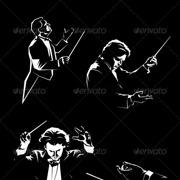 Silhouette of the Orchestral Conductor