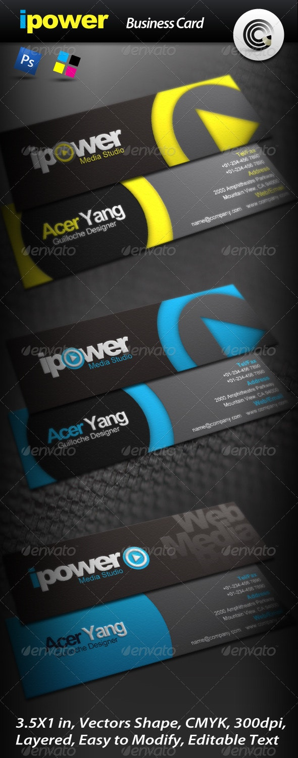 Ipower Media Studio Business Card - Corporate Business Cards