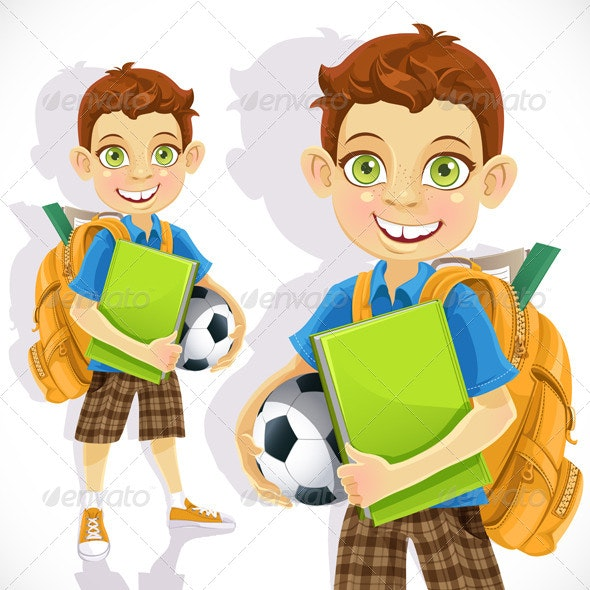 Boy Student with a Backpack and Textbook - People Characters