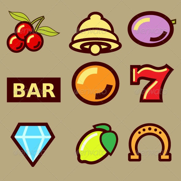 Slot Machine Symbols - Sports/Activity Conceptual