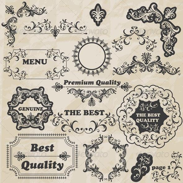 Vector Floral Design Elements - Decorative Symbols Decorative
