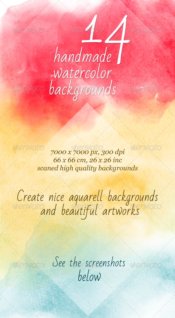 14 Watercolor Handmade Artistic Backgrounds - Abstract Backgrounds