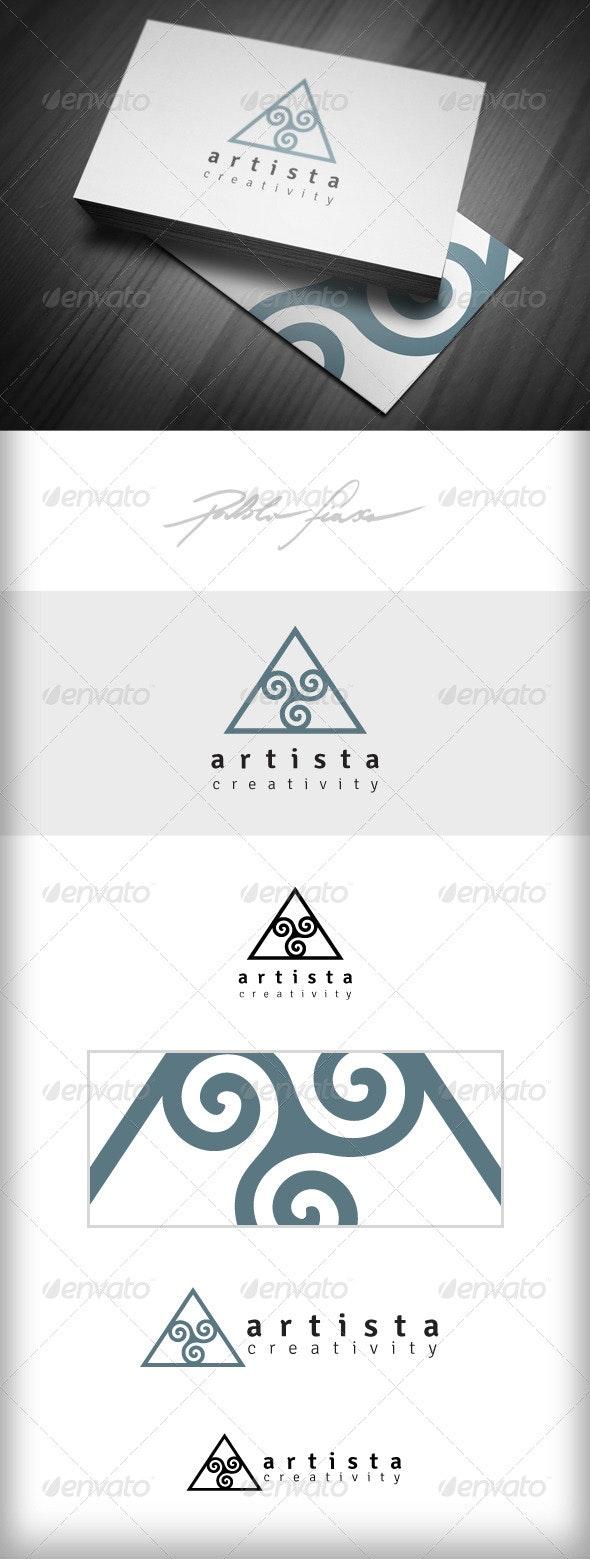 Triangle with Spirals Creative Logo -  Swirl Logo - Symbols Logo Templates