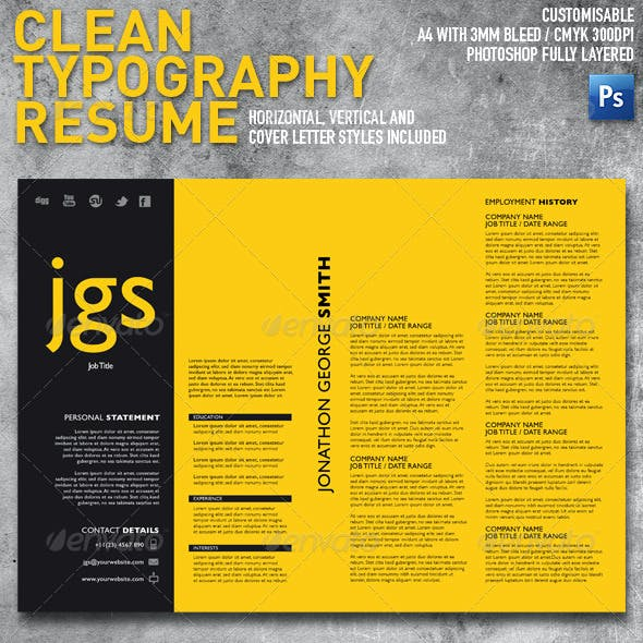 Clean Typography Resume + Cover Letter Set