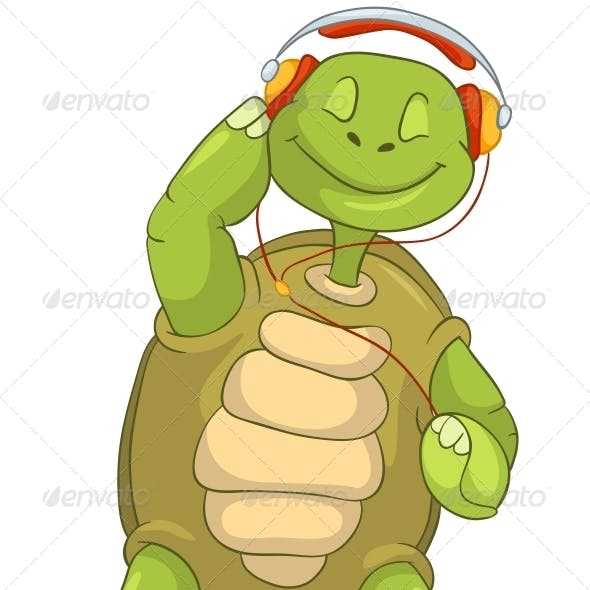 Turtle Listening to Music.