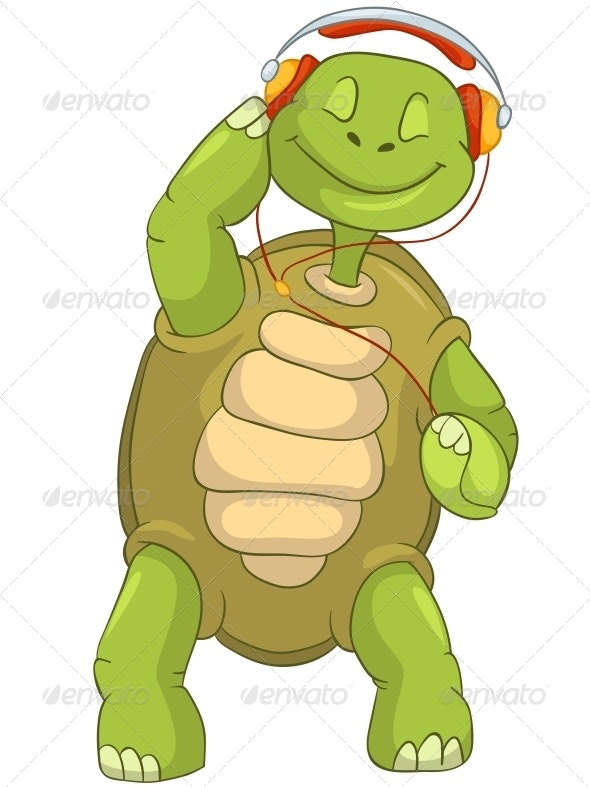 Turtle Listening to Music. - Animals Characters