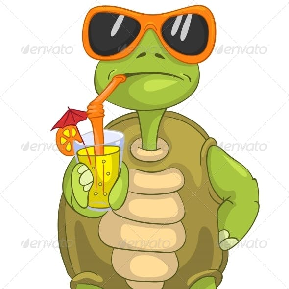 Turtle Drinking Cocktail.