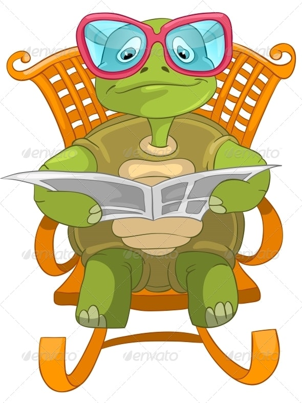Turtle Reading. - Animals Characters