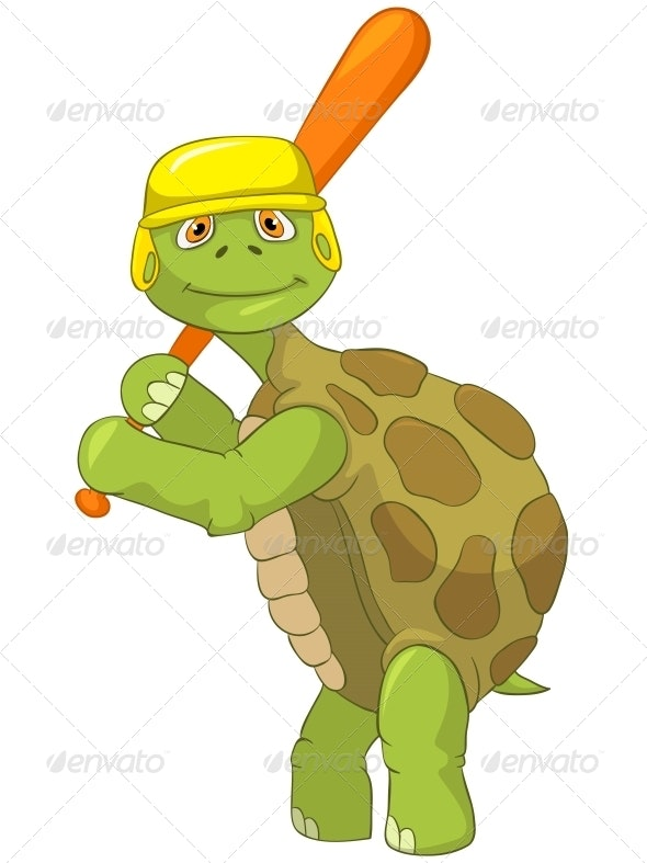 Turtle. Baseball Player. - Animals Characters