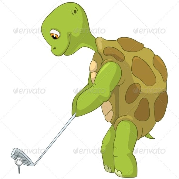 Turtle. Golf Player.