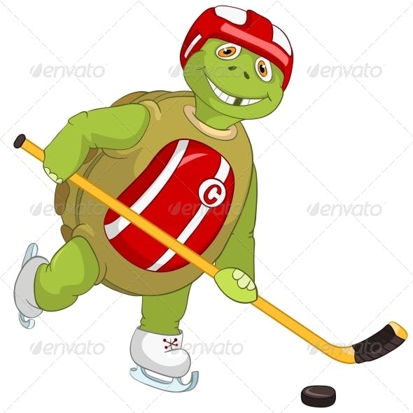 Turtle. Hockey Player.