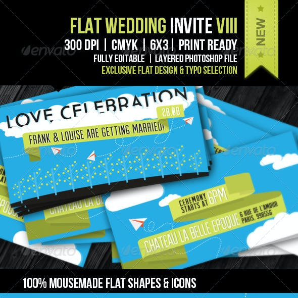 Flat Wedding Invite VIII