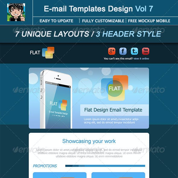 Flat : E-mail Template Design Vol 7