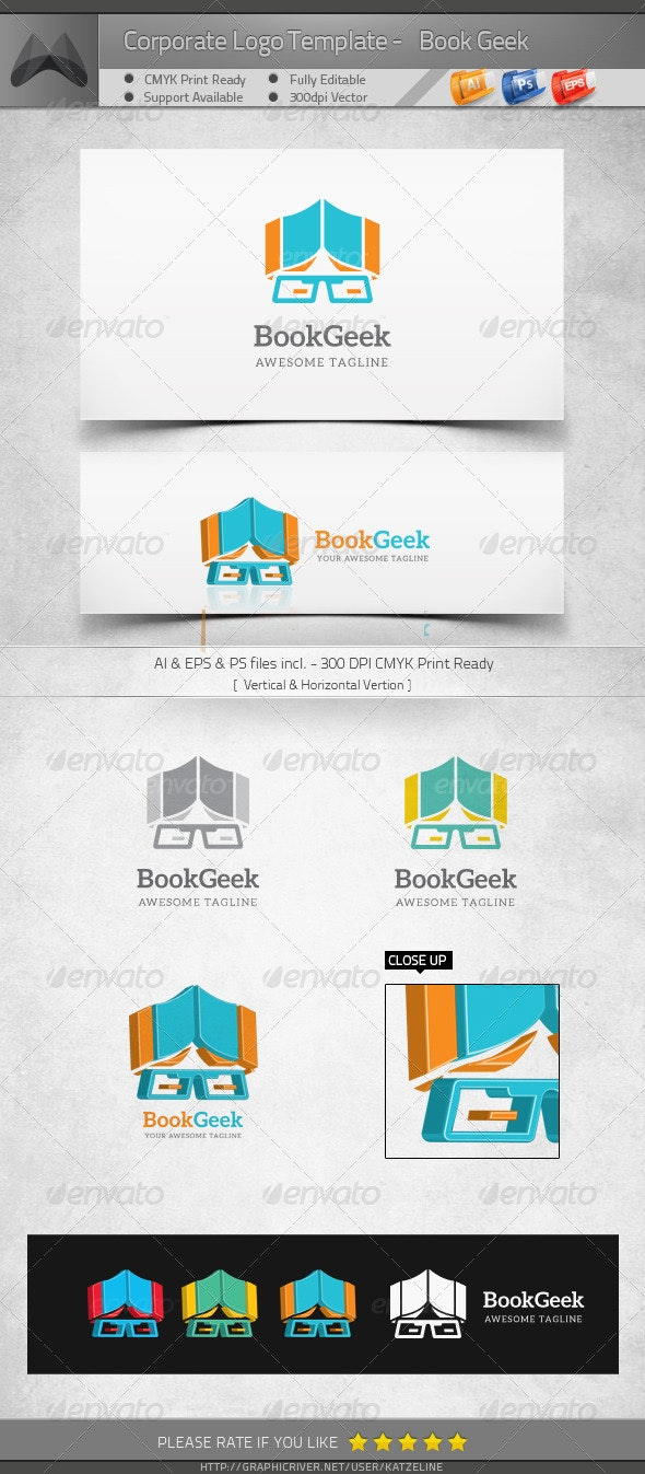 Book Geek - Logo Template - Humans Logo Templates