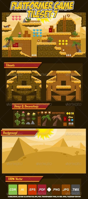 Platformer Game Tile Set 7 - Tilesets Game Assets