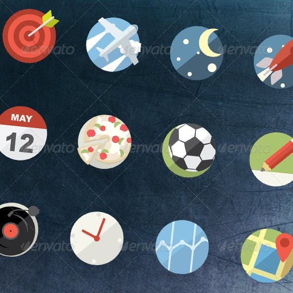 12 Flat Icons Pack