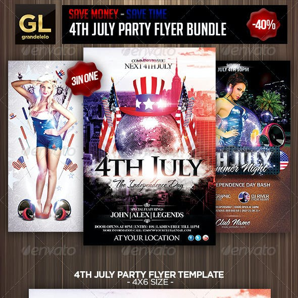 4th July Party Flyer Bundle