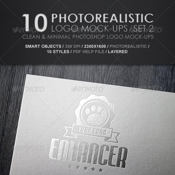 10 Photorealistic Logo Mock-Ups / Set 2