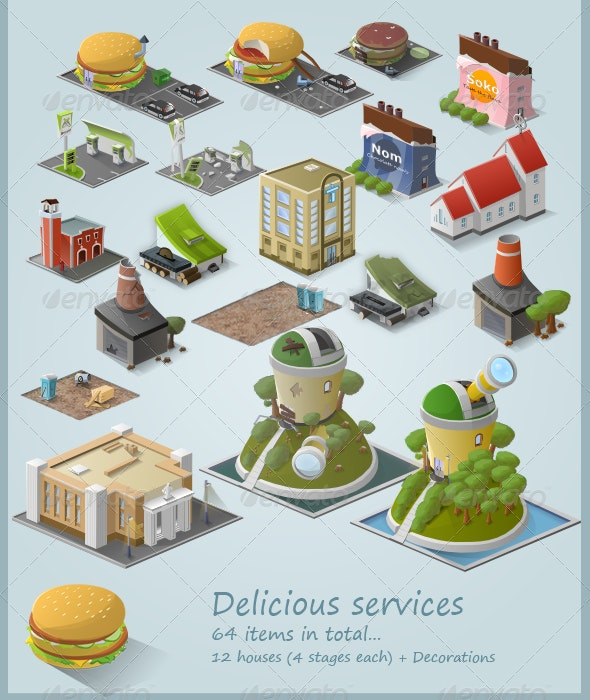 Stylised Building Icon Pack (64 items) - Part 3 - Buildings Objects