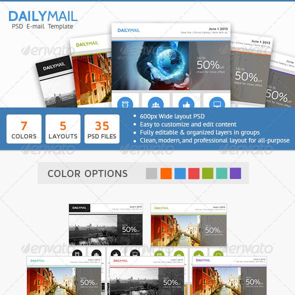 Daily Mail - Clean PSD Email Newsletter Template
