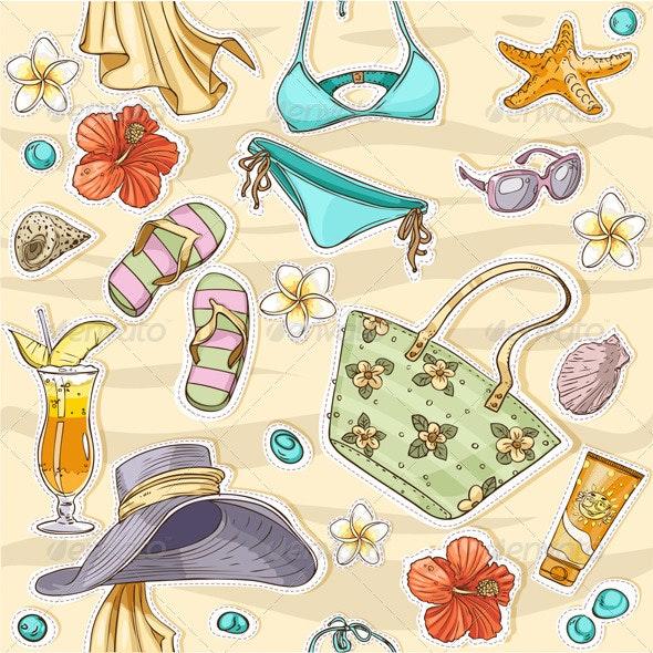 Seamless Background On A Beach Theme - Seasons/Holidays Conceptual