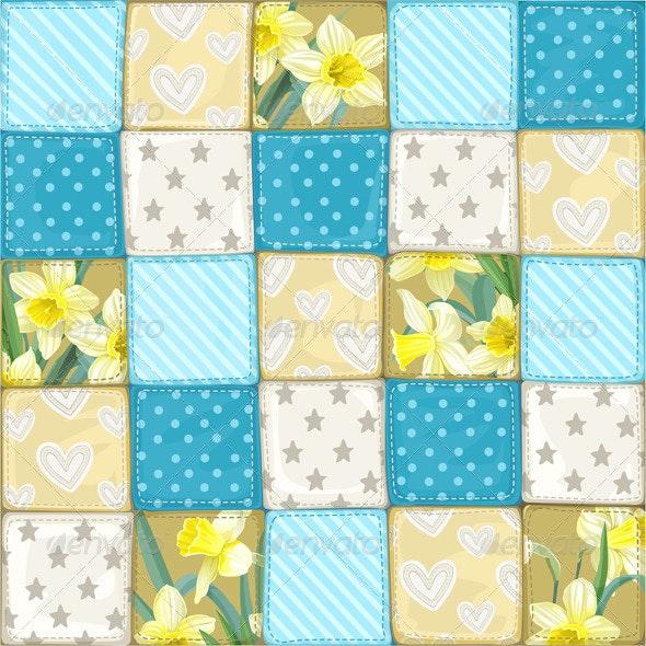Seamless Pattern Blue Scrappy Blanket  - Patterns Decorative